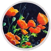Poppies In The Light Round Beach Towel