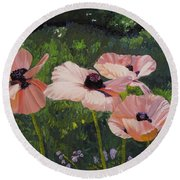 Poppies In The Sun Round Beach Towel
