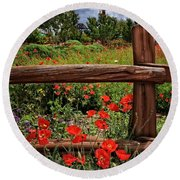 Poppies In The Texas Hill Country Round Beach Towel