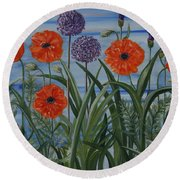 Poppies, Iris, Giant Alium Round Beach Towel