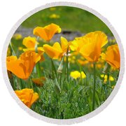 Poppies Meadow Summer Poppy Flowers 18 Wildflowers Poppies Baslee Troutman Round Beach Towel