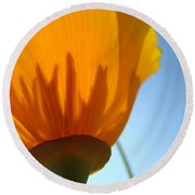 Poppies Sunlit Poppy Flower 1 Wildflower Art Prints Round Beach Towel