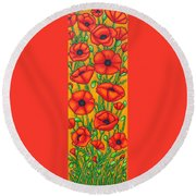 Poppies Under The Tuscan Sun Round Beach Towel