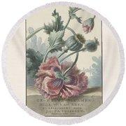 Poppies, Willem Van Leen, 1804 Round Beach Towel