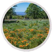 Poppies With A View At Oak Glen Round Beach Towel