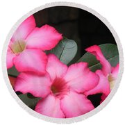 Poppin Pink Flowers Round Beach Towel