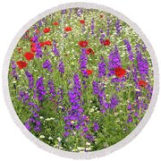 Poppy And Wild Flowers Meadow Nature Scene Round Beach Towel