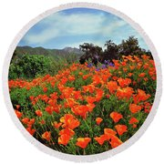Poppy Explosion Round Beach Towel