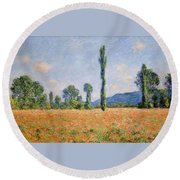 Poppy Field, Giverny Round Beach Towel