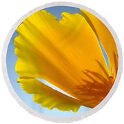 Poppy Flower Art Print Poppies 13 Botanical Floral Art Blue Sky Round Beach Towel