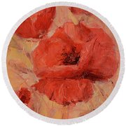 Poppy Flowers Handmade Oil Painting On Canvas Round Beach Towel