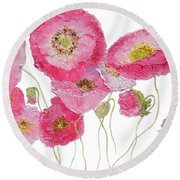 Poppy Painting On White Background Round Beach Towel