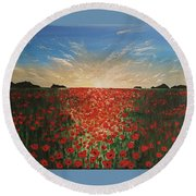 Poppy Sunset Round Beach Towel