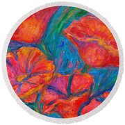 Poppy Twirl Round Beach Towel