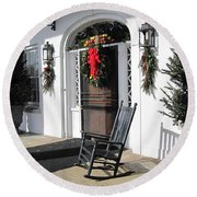 Porch At Boone Hall Plantation Charleston Sc Round Beach Towel