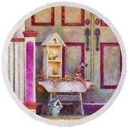 Porch - Cranford Nj - The Birdhouse Collector Round Beach Towel by Mike Savad