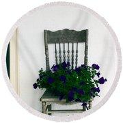 Porch Flowers Round Beach Towel