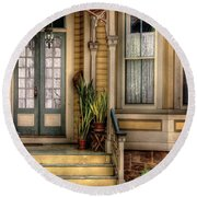 Porch - House 109 Round Beach Towel by Mike Savad