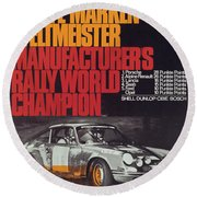 Porsche 1970 Rally World Champion Round Beach Towel