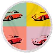 Porsche 356 Pop Art Panels Round Beach Towel