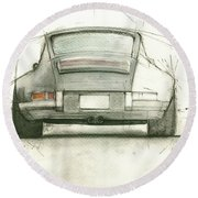 Porsche 911 Rs Round Beach Towel