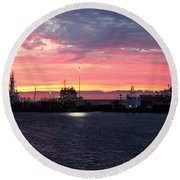 Port Angeles Harbor Thirteen Round Beach Towel