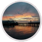 Port Angeles Sunrise Round Beach Towel