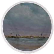 Port Aransas Jetty In Round Beach Towel