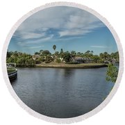 Port Charlotte Adhenry Waterway From Midway Round Beach Towel