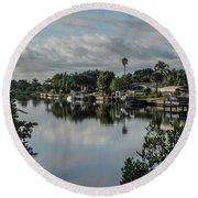 Port Charlotte Elkham Waterway From Tamiami Round Beach Towel