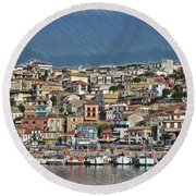 Port City Parga Greece - Dwp1163344 Round Beach Towel