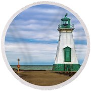 Port Dalhousie Lighthouse 1 Round Beach Towel