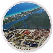 Port Everglades Florida Round Beach Towel