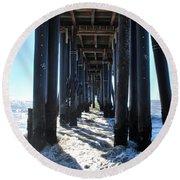 Port Hueneme Pier - Waves Round Beach Towel
