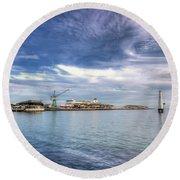Port Melbourne Harbour Round Beach Towel