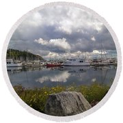Port Of Anacortes Marina On A Cloudy Day Round Beach Towel
