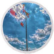Port Of Florence Round Beach Towel
