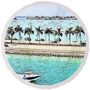 Port Of Miami - Miami, Florida Round Beach Towel