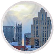 Port Of Montreal Skyline Round Beach Towel