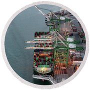 Port Of Oakland Aerial Photo Round Beach Towel