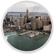 Port Of San Francisco And Downtown Financial Districtport Of San Francisco And Downtown Financial Di Round Beach Towel