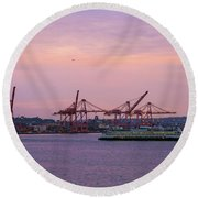 Port Of Seattle During Colorful Sunset Round Beach Towel