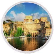 Port Of Sorrento, Southern Italy Round Beach Towel
