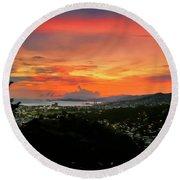 Port Of Spain Sunset Round Beach Towel