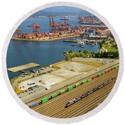 Port Of Vancouver Bc Round Beach Towel