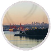 Port Of Vancouver By Stanley Park Round Beach Towel