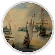 Port Scene With Sailing Ships Round Beach Towel