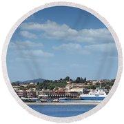 port with ferry boats Corfu Greece Round Beach Towel
