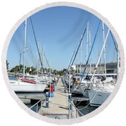 Port With Yacht  Round Beach Towel