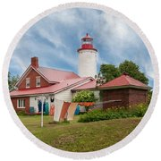 Portage River - Jacobsville - Lighthouse Round Beach Towel